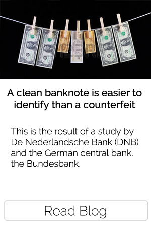 A clean banknote is easier to identify than a counterfeit