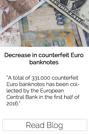 Decrease in counterfeit Euro banknotes